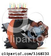 3d Business Orangutan Monkey Holding A Birthday Cake On A White Background