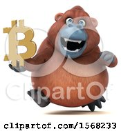 Clipart Of A 3d Orangutan Monkey Holding A Bitcoin Symbol On A White Background Royalty Free Illustration by Julos