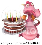 3d Pink Dragon Holding A Birthday Cake On A White Background