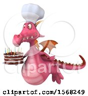 3d Pink Chef Dragon Holding A Birthday Cake On A White Background