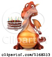 3d Red Dragon Holding A Birthday Cake On A White Background