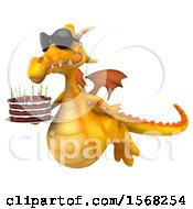 3d Yellow Dragon Holding A Birthday Cake On A White Background