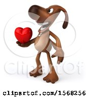 3d Brown Chocolate Lab Dog Holding A Heart On A White Background