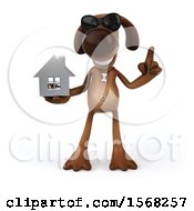 3d Brown Chocolate Lab Dog Holding A House On A White Background