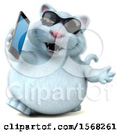 3d White Kitty Cat Holding A Cell Phone On A White Background
