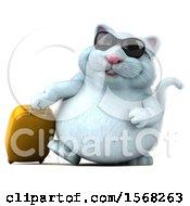 3d White Kitty Cat Traveler On A White Background