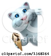 3d White Kitty Cat Holding A Waffle Ice Cream Cone On A White Background