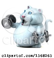 3d White Kitty Cat Working Out With Dumbbells On A White Background