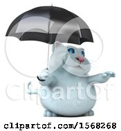 3d White Kitty Cat Holding An Umbrella On A White Background