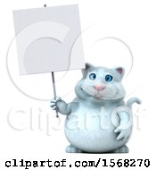 3d White Kitty Cat Holding A Sign On A White Background