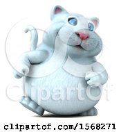 3d White Kitty Cat Walking On A White Background