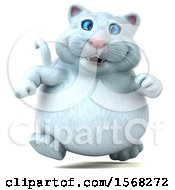 3d White Kitty Cat Running On A White Background