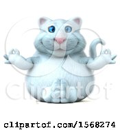 Clipart Of A 3d White Kitty Cat Meditating On A White Background Royalty Free Illustration by Julos