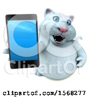 Clipart Of A 3d White Kitty Cat Holding A Cell Phone On A White Background Royalty Free Illustration by Julos
