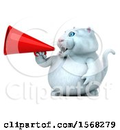 3d White Kitty Cat Using A Megaphone On A White Background