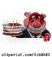 3d Red Business Bull Holding A Birthday Cake On A White Background