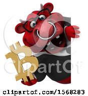 3d Red Business Bull Holding A Bitcoin Symbol On A White Background