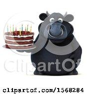 3d Black Bull Holding A Birthday Cake On A White Background