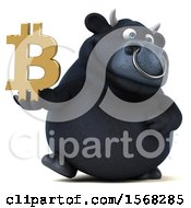 3d Black Bull Holding A Bitcoin Symbol On A White Background