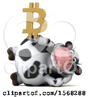 Clipart Of A 3d Holstein Cow Holding A Bitcoin Symbol On A White Background Royalty Free Illustration by Julos