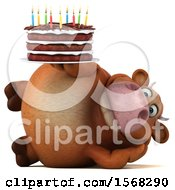 Clipart Of A 3d Brown Cow Holding A Birthday Cake On A White Background Royalty Free Illustration by Julos