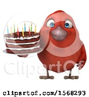 Clipart Of A 3d Red Bird Holding A Birthday Cake On A White Background Royalty Free Illustration