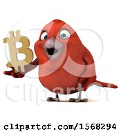 Clipart Of A 3d Red Bird Holding A Bitcoin Symbol On A White Background Royalty Free Illustration