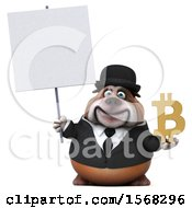 3d Gentleman Or Business Bulldog Holding A Bitcoin Symbol On A White Background