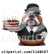 Clipart Of A 3d Gentleman Or Business Bulldog Holding A Birthday Cake On A White Background Royalty Free Illustration by Julos