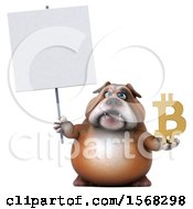 Clipart Of A 3d Bulldog Holding A Bitcoin Symbol On A White Background Royalty Free Illustration by Julos