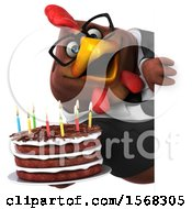 Clipart Of A 3d Chubby Brown Business Chicken Holding A Birthday Cake On A White Background Royalty Free Illustration