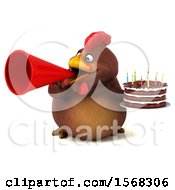 Clipart Of A 3d Chubby Brown Chicken Holding A Birthday Cake On A White Background Royalty Free Illustration