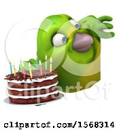 Clipart Of A 3d Green Bird Holding A Birthday Cake On A White Background Royalty Free Illustration by Julos