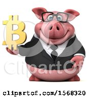 Clipart Of A 3d Chubby Business Pig Holding A Bitcoin Symbol On A White Background Royalty Free Illustration by Julos