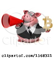 3d Chubby Business Pig Holding A Bitcoin Symbol On A White Background