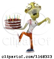 Clipart Of A 3d Zombie Holding A Birthday Cake On A White Background Royalty Free Illustration by Julos