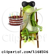 Clipart Of A 3d Green Gecko Lizard Holding A Birthday Cake On A White Background Royalty Free Illustration
