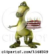 Poster, Art Print Of 3d Green Dinosaur Holding A Birthday Cake On A White Background