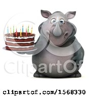 Clipart Of A 3d Rhinoceros Holding A Birthday Cake On A White Background Royalty Free Illustration by Julos