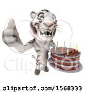 Clipart Of A 3d White Tiger Holding A Birthday Cake On A White Background Royalty Free Illustration