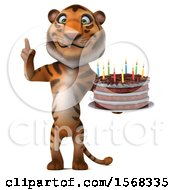 3d Tiger Holding A Birthday Cake On A White Background