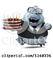3d White Business Monkey Yeti Holding A Birthday Cake On A White Background