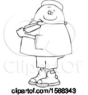 Poster, Art Print Of Cartoon Lineart Black Boy Eating A Popsicle