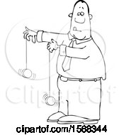 Clipart Of A Cartoon Lineart Black Business Man Playing With Yoyos Royalty Free Vector Illustration