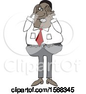 Cartoon Aggravated Black Business Man Squeezing His Face