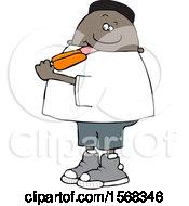 Poster, Art Print Of Cartoon Black Boy Eating An Orange Popsicle