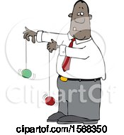 Clipart Of A Cartoon Black Business Man Playing With Yoyos Royalty Free Vector Illustration