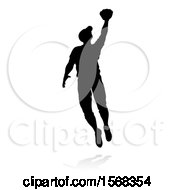 Poster, Art Print Of Black Silhouetted Baseball Player With A Shadow On A White Background