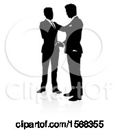 Clipart Of Silhouetted Business Men Shaking Hands With A Shadow On A White Background Royalty Free Vector Illustration