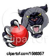 Clipart Of A Tough Black Panther Monster Mascot Holding Out A Cricket Ball In One Clawed Paw Royalty Free Vector Illustration by AtStockIllustration